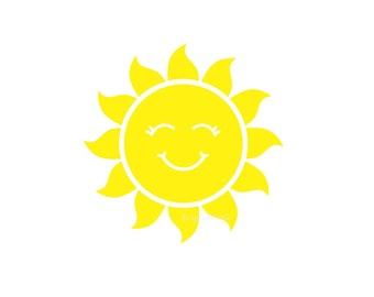Sun Decal, smiling sun, vinyl wall decal, sunshine, sun sticker, yellow sun, nursery room decals, vinyl sun, sun with smile, sun wall art