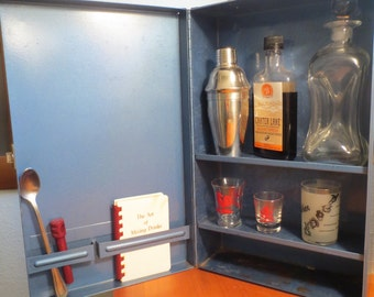 Vintage Metal Power Tool Box / Metal Box with Shelves Perfect for a mini bar for a Man Cave Bar