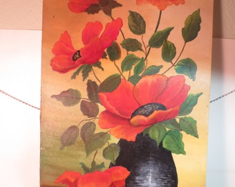 Vintage Original Signed Artwork Painting Poppies in a Black Vase Frances Sutton 20 x 11""