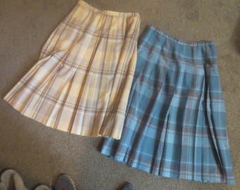 "2 Vintage Pendleton 100% wool Plaid Pleated Skirts / Blue plaid 32"" long/ Tan Plaid 30"" long / Size 16 Petite / made in USA"