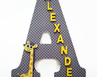 Giraffe Wood Letters - Grey Yellow Wall Letter - Boys Giraffe Nursery Letter - Girls Wall Decor - Wall Name Art - Giraffe Nursery Decor