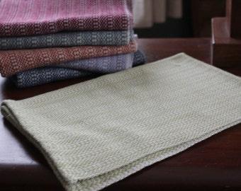 Handwoven Happy Tea Towel, Light Sage Green