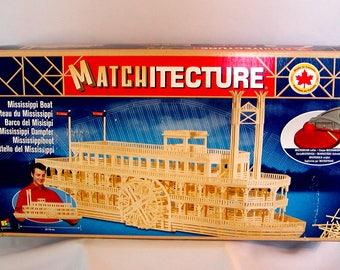 "Bojeux MATCHITECTURE Wood Model Kit MISSISSIPPI BOAT 29"" Paddlewheel Microbeams Matchsticks"