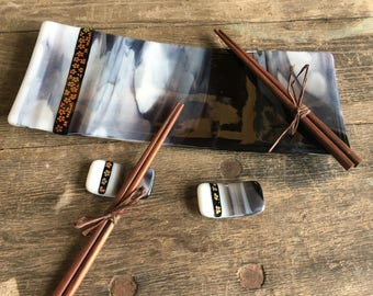 Fused Glass Sushi Plate Dish and Chopstick Set