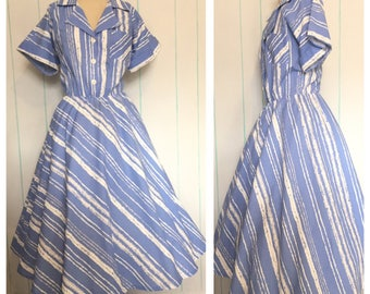 Blue Striped Shirt Dress Size 18