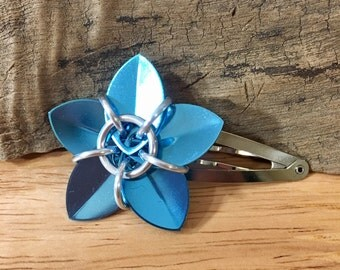 Shiny Sky Blue Scale Flower Barrette