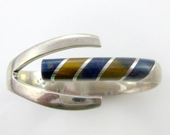 Vintage Mexican 950 Silver Tigers Eye and Blue Lapis Clamper Bracelet