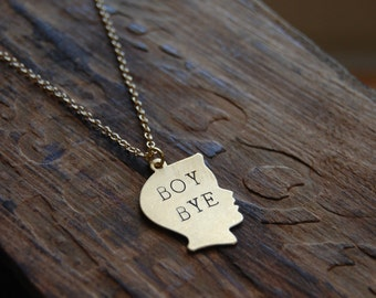 BOY BYE. Gold Boy Silhouette Pendant Hand Stamped Necklace