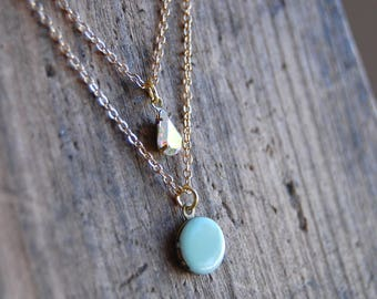 Micro Mini Vintage Brass Locket Layered Choker Necklace with Vintage Crsytal Teardrop Charm. Layered chains choker.