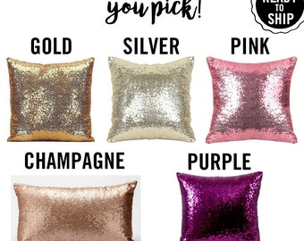 Glam Sequin Pillow Decorative Cover Purple Pink Silver Rose Gold Champagne Shiny Wedding Sham Mermaid Kids Room Photo Booth Decor Party Prop