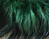 """4"""" strip Emerald Green Feathers Rooster Furnace Hackle for Costumes, Hats, Bridal, Masks, Tribal Fusion"""