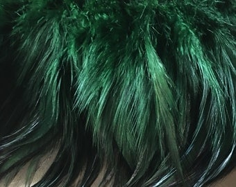 "4"" strip Emerald Green Feathers Rooster Furnace Hackle for Costumes, Hats, Bridal, Masks, Tribal Fusion"