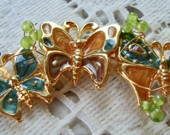 Butterfly Lovers Enamel with Glass Beads Pin Brooch