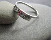 reserved for ashley - simple truths ring - speak -  sterling silver