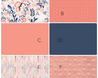 Baby Girl Crib Bedding Set Navy and Coral Birds and Flowers