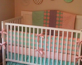 Crib Bedding Butterbeans Exclusive Coral Mint and Gray Ruffled