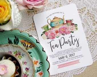 PRINTABLE Girly Girl Vintage Floral Boho Chic Tea Party Tween Birthday Party Baby Shower Bridal Shower Invitation