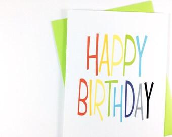 Happy Birthday Card, Rainbow Card, Celebration Card for Rainbow Party, Greeting Card for Friend, Kids Birthday Card, Cute Birthday Card
