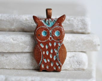 Lil' bRoWn Turquoise bLuE Owl ceramic pendant, rustic pendant in stoneware clay ceramic owl jewelry, for owl lovers