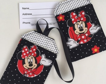 Luggage Tag Set with Minnie Mouse, Disney Themed Luggage Tags for your trip to Disney, Stroller Tags, Bag Tags