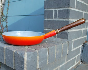 Vintage Descoware Cast Iron Skillet Orange Enamel Belgium
