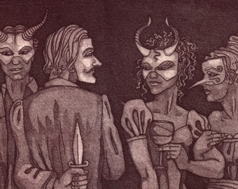 "Etching, proof print - ""The Guilty Party"" - mysterious, sinister original art. Masquerade, murder & wine. Drinks party by Nancy Farmer."