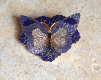Cloisonne Enamel Butterfly Brooch by Fish and Crown