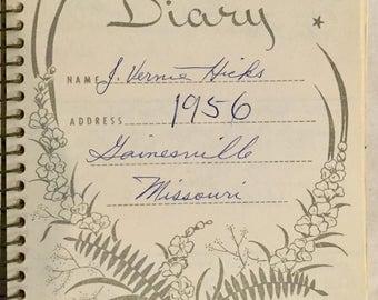 Vintage, 1956, Diary, Gainesville, Missouri, Handwritten Diary