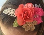 MOANA HEADBAND on Ecru Crochet Lace Tieback Headband