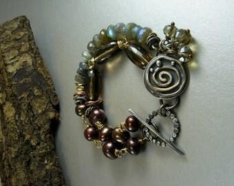 Sterling Silver Swirl Bracelet Maroon Pearls Fiery Labradorite smokey quartz Charm original copper bohemian