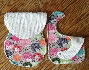 Flannel and Chenille Burp Cloth and Bib Set, Cute Hedgehogs, snap, Baby Girl