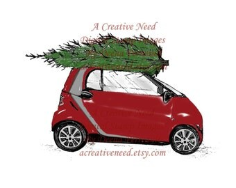 COLORED Instant Download digital Image Bringing Home The Tree, Christmas Holiday, Digital Drawing