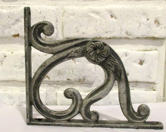 Vintage Cast Iron Shelf Brackets Silver Black Grey Corbels Floral Swirl Design