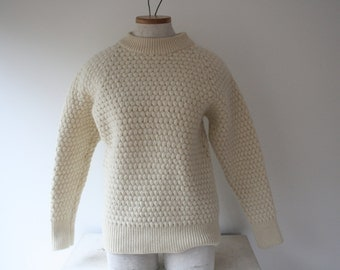 Vintage Cream/Ivory/White Smith's of Bermuda Fisherman's worsted wool women's sweater size Small