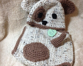Crocheted Puppy Hat and Diaper Cover - Photo Prop