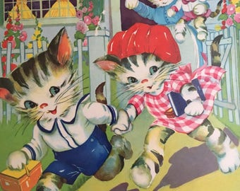 Vintage Ruth E Newton Illustration--Kittens and Puppies--Children Book Page Front and Back--Colorful--Thirties-Giant Tell A Tale-Chubby Cubs