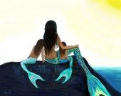 """Mermaid Art Mermaid Print Mermaid Painting Mother Daughters Sisters Mom Art  Decor Wall Art  """"MY SUNSHINE GIRLS""""  Leslie Allen Fine Art"""