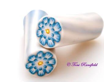 Blue Dahlia Flower Polymer Clay Cane, Raw polymer Clay Cane, Millefiori Polymer Clay