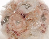 Flutter Bouquet, Brooch Bouquet Alternative, Enamel and Fabric bouquet with Pearls and Rhinestones,  Romantic Vintage Style Blush Bouquet