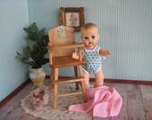 Vintage Doll Furniture- Strombecker Highchair # 150- With Nursery Rhyme Decals - Play Scale