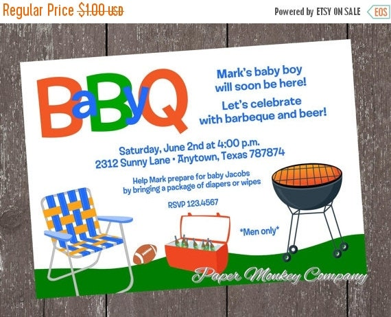 ON SALE Daddy BBQ Baby Shower Invitations