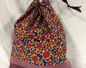 Flowers on blue cotton project bag - knitting, crochet, crafts
