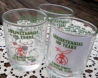 3 Shriner Freemasonry Souvenir Glasses, Galveston Island Texas El Mina Shrine Temple, Masonic Fraternity Memorabilia