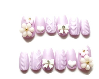 Sweater nails, matt nails, lilac nails, winter nails, bow, knit nail, Japanese 3D nail, nail art, pastel nails, fairy kei, Harajuku,