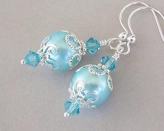 Aqua pearl earrings, aqua blue glass earrings with silver filigree, pastel Spring earrings, bridesmaids gift, pool blue bridal earrings