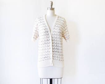 white short sleeve cardigan, vintage 70s pointelle cardigan sweater, chevron eyelet button up sweater, large l
