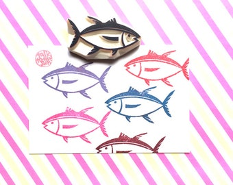 fish rubber stamp. tuna fish stamp. hand carved stamp. summer kids' crafts. holiday scrapbooking. diy fish pattern gift wraps. no3