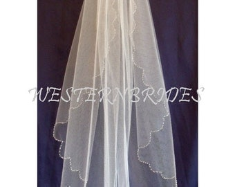 WEDDING  Beaded scalloped edge Bridal Wedding  veil Ivory ,white, off white elbow, fingertip , cathedral  length for tiara and wedding dress