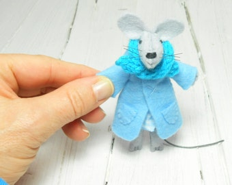 Animal felt brooch Kids jewelry Felt brooch backpack light blue turquoise children brooch  funny brooch