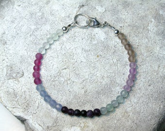 Rainbow Flourite bracelet, Flourite Jewelry, Boho Bracelet, Flourite Bracelet, Fluorite Ombre Bracelet, Gift for Her